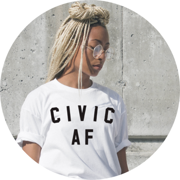 Young woman in Civic AF t-shirt.